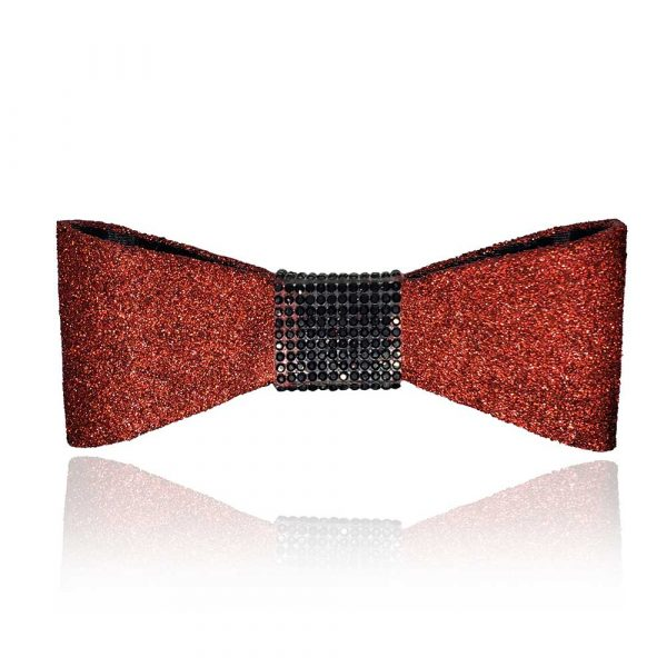 The Jessie Bow in red with black rhinestones