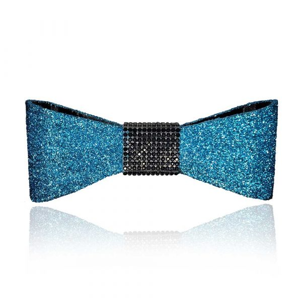 The Jessie Bow in teal with black rhinestones