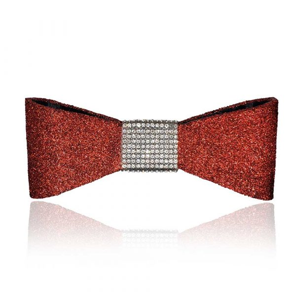 The Jessie Bow in red with silver rhinestones