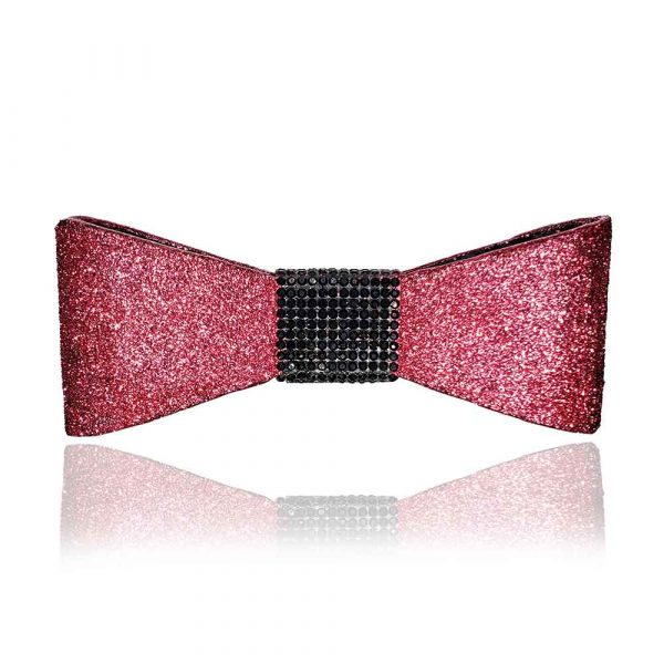 """The """"Jessi"""" bow in pink with black rhinestones"""