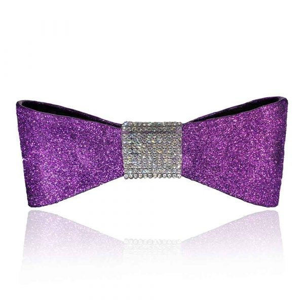 """The """"Jessie"""" bow in purple with silver rhinestones"""