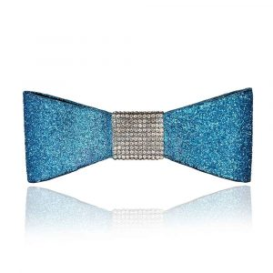 """The """"Jessi"""" bow in teal with silver rhinestones"""